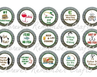 INSTANT DOWNLOAD Fishing Bottle Cap Image Sheets *Digital Image* 4x6 Sheet With 15 Images
