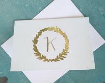 Personalized Real Foil Note Cards + Envelopes (set of 8) - Greeting Cards - Wedding - Notes - Personalized - Initial - Gold Foil