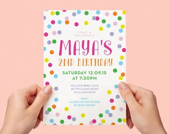 Confetti Sprinkles Bright Kids Party Invite First birthday Baby Girl Invite Colourful 1st 2nd 3rd 4th 5th Printable Invite
