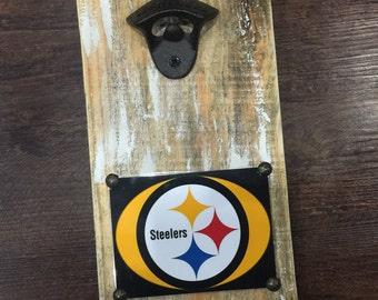 Pittsburgh Steelers  Vintage Style Wall Mounted Bottle Opener - Groomsmen Gift - Wedding Gift - Birthday Gift - Cowboy Fan