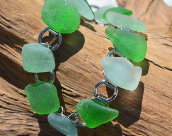 Shades of Green Sea Glass Bracelet