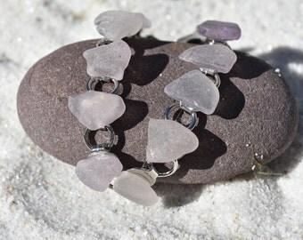 Genuine Surf Tumbled Purple and Lavender Sea Glass Bracelet