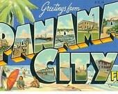 Vintage Postcard Greetings from Panama City, Florida - Linen Paper Ephemera
