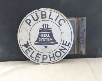 Vintage Metal Enamel Public Bell System Telephone Round 2 Sided Sign - Advertising - Industrial -