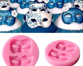 Masquerade Masks Flexible Silicone 2-Cavity Mold for Polymer Clay, Food, Fondant, Soaps, etc.