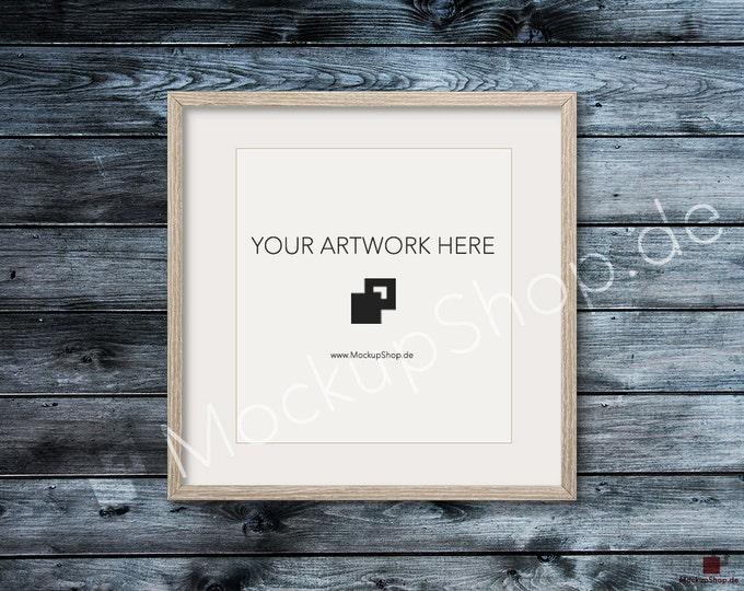 SQUARE MOCKUP FRAME on dark blue grey wooden wall, Frame Mockup, Amazing brown photo frame mockup, Digital Download