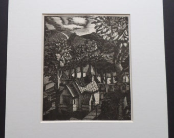 ERIC RAVILIOUS - Rare Vintage Wood Engraving Print - Church Under A Hill - Only Printing - 1928 - Matted - Ready to Frame