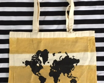 Where To World Map Canvas Tote Travel Bag
