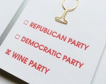 Election Card. Republican Democratic and Wine Party Paper Clip Letterpress Card