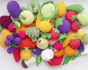 Crochet play food set (20 pcs) Crochet vegetables and fruit ,Birthday Present, eco-friendly toys,Pretend play ,Summer Fun,Preschool Toys