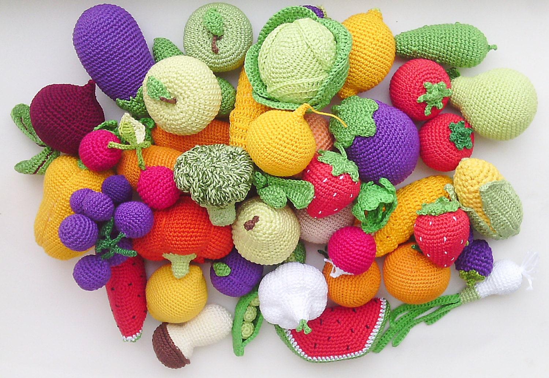 Crochet Amigurumi Vegetables : Crochet play food set 20 pcs Crochet vegetables and fruit