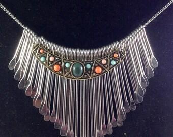 Boho necklace. chandelier necklace. Stone necklace. Gypsy  necklace. Silver and bronze necklace. Fringe necklace. Tribal necklace