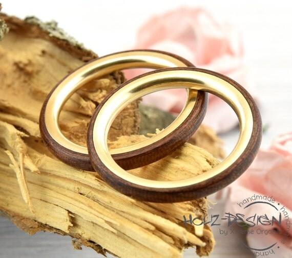 gold ringset ringe mit holz schmal bentwood eheringe. Black Bedroom Furniture Sets. Home Design Ideas
