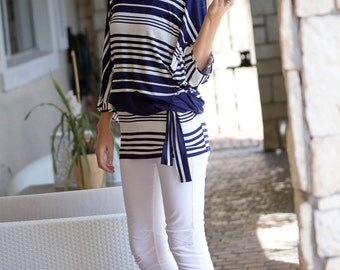 Navy and White Stripe Batwing Top