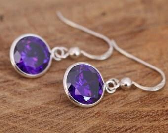 Sterling Silver Dangle Earrings|Purple Dangle Earrings|Purple CZ Earrings| Amethyst CZ Earrings|February Birthstone Earrings|Gift for Her