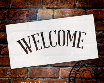 """Welcome Word Stencil - 8"""" x 4"""" - STCL583 - Select Size - by StudioR12"""