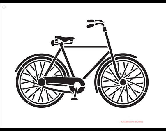 Basic Vintage Bicycle Art Stencil - Select Size - STCL1056 - by StudioR12