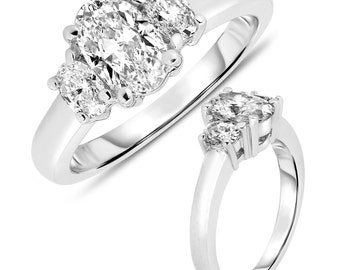 Ladies 1 1/4CT 3 Stone Oval Diamond Engagement Ring 14K White Gold