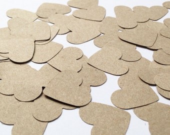 Kraft Heart Confetti - 500 Pieces - Rustic Wedding Decor - Heart Table Confetti - Table Decorations - Shabby Chic Engagement
