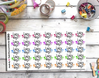 030 - (35- Lazy Day Stickers) Lazy Day, Hearts, Planner Sticker, Kiss Cut Stickers