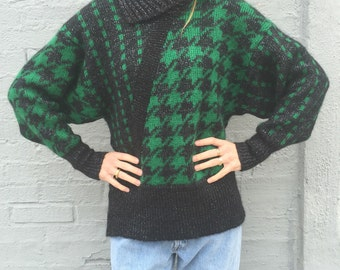 vintage 90s chunky houndstooth batwing oversized sweater