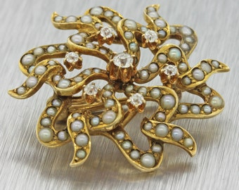 1890s Antique Victorian 14K Yellow Gold Seed Pearl & Diamond Starburst Pin