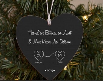 Christmas Ornament for Aunt Niece Auntie Gift Personalized Ornament Gift Custom States Map from Niece Nephew Love Between Aunt and Niec