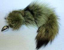 Tail Plug,GREEN Dyed COYOTE, MATURE, Available Detachable or Permanently Attached in 3 Plug Sizes, Cosplay, bdsm