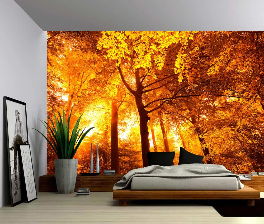Sun tree autumn forest large wall mural self adhesive vinyl for Autumn forest wall mural