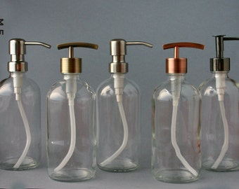 Clear glass bottle soap dispenser with metal pump