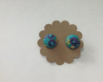 Turquoise Floral Covered Button Earrings