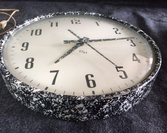 Rare R.H. Guarantee paint-splatter vintage industrial kitchen wall clock