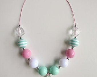 Aqua/Pink Thong Bubblegum Bead Necklace