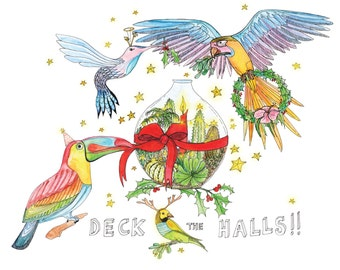 Tropical Christmas card featuring a parrot, toucan and humming bird putting up Christmas decorations