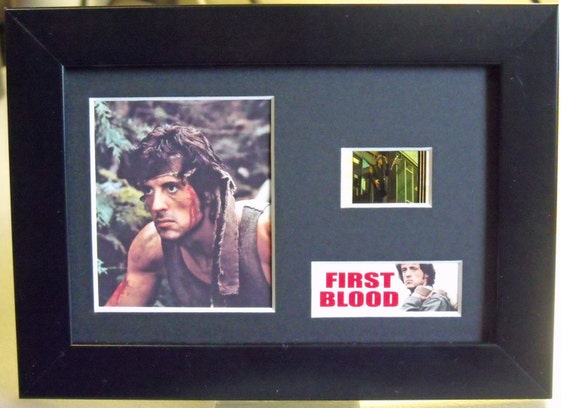 Rambo First Blood Sylvester Stallone Brian Dennehy David Caruso framed 35mm film cells - Black Silver