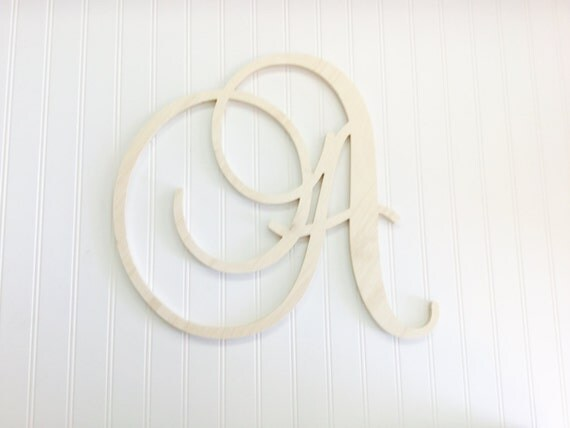24 inch Large Wood Wall Letters- Wood Letters - Hanging Letters - Script Fancy Wedding - Nursery Letters