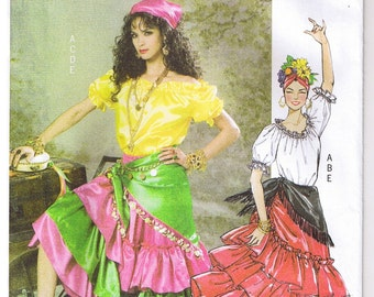 Gypsy Fortune Teller Flamenco Dancer Butterick 4889 Costume Sewing Pattern L XL 16 18 20 22