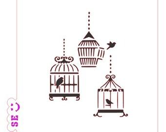 Birdcages Stencil
