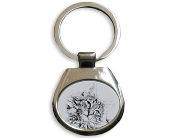 Norwegian Forest cat - NEW collection of keyrings with images of purebred cats, unique gift, sublimation