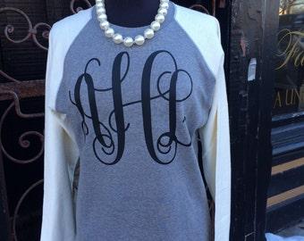 Raglan Monogrammed Hi-Lo Sweatshirt