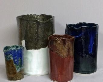 Wine chiller, utensil holder, vase, wine holder, wine cooler, wedding gift, blue, black, red, gray, green, turquoise, brown