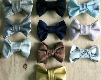 Baby Boys Bow Tie - Adjustable Strap all ages - 10 colours - denim/leather/prints/cotton/navy/black