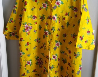 Vintage cotton bright yellow housecoat made in Singapore