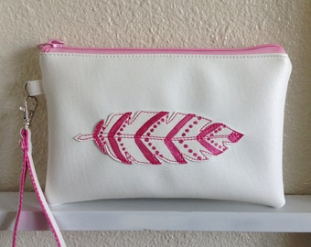 iPhone 6 plus wristlet, Zippered Clutch, Wristlet clutch with detachable strap, cosmetic bag, zippered Pouch