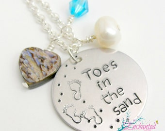 """Hand Stamp """"Toes In The Sand"""" Necklace, Stamped Silver Jewelry, Stamped Metal Necklace, Beach Jewelry"""