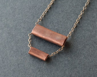 Handmade Pipe Necklace in Copper No. 1