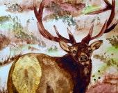 Elk Original Watercolor Painting - Colorado Fine Art - Western Art - Fall Landscape - Deer Wildlife Art - Cowboy Artwork