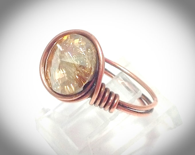 Wirewrapped copper ring with solitaire swarovski crystal focal