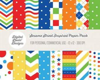 INSTANT DOWNLOAD - 16 Sesame Street Inspired Papers for Scrapbooking, Crafts, Invitations for Commercial and Personal Use