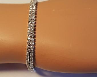 Sterling Silver CZ Bridal Bracelet / Wedding Sterling Silver CZ Bracelet